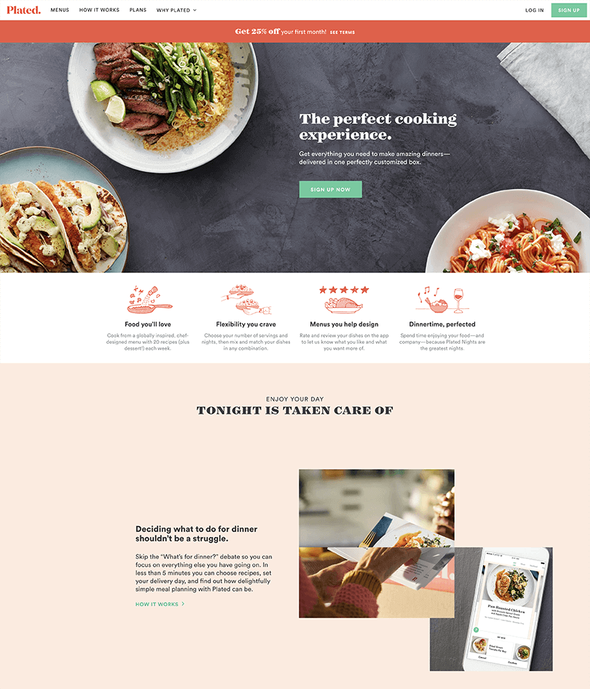 Plated landing page example