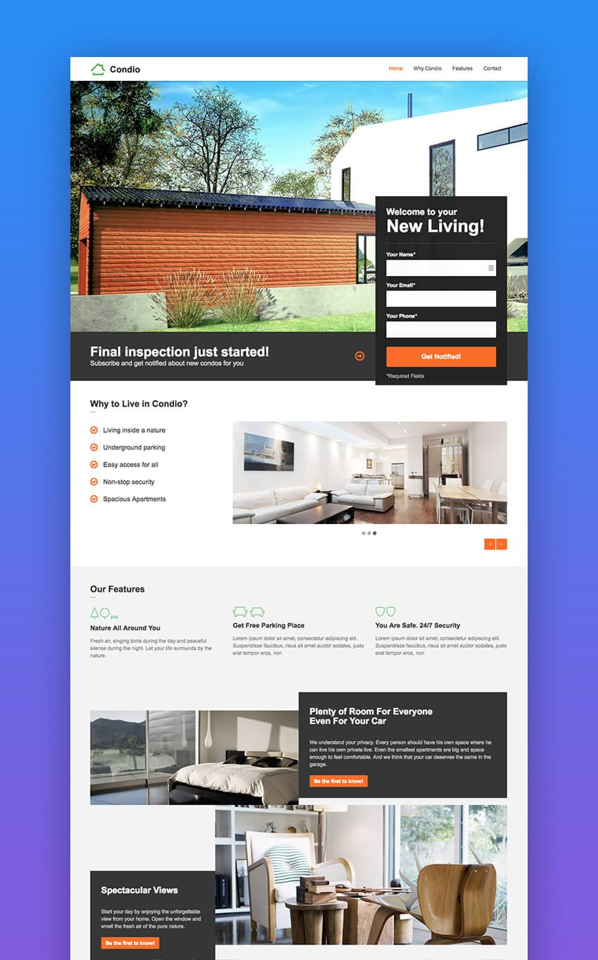 Condio one page real estate landing page template