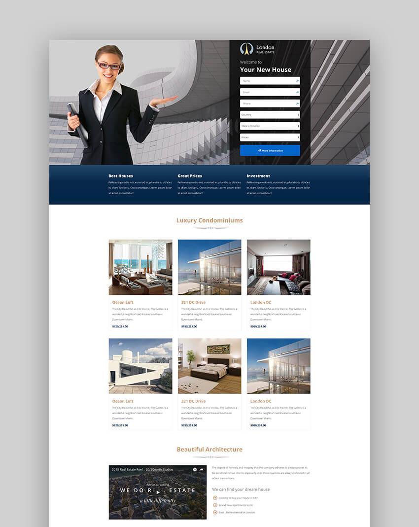London minimal real estate landing page template