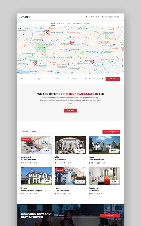 Lune real estate landing page design