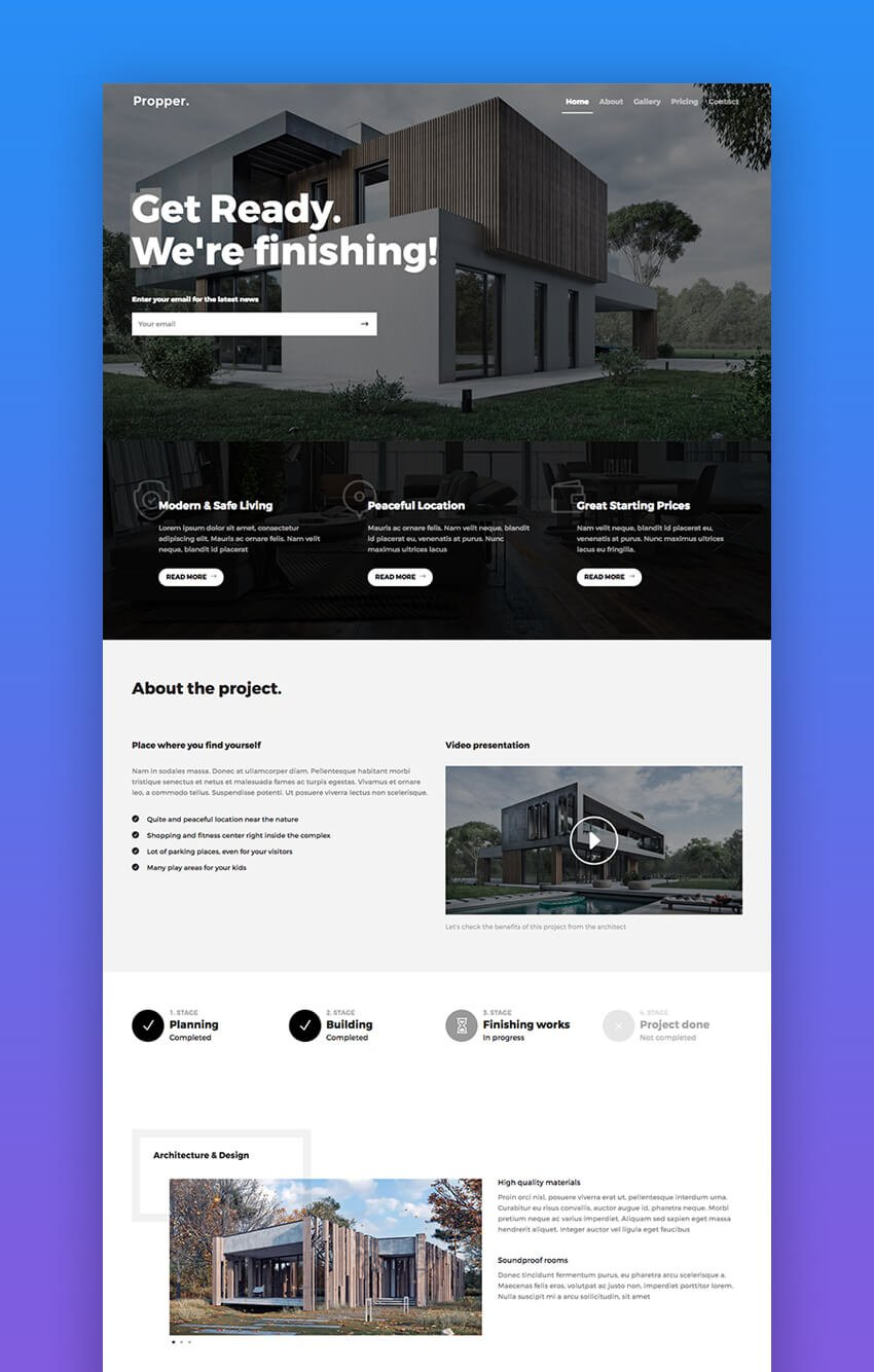 Propper professional template for realtor landing pages