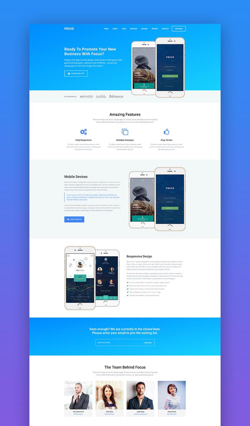 Focus multipurpose app landing page