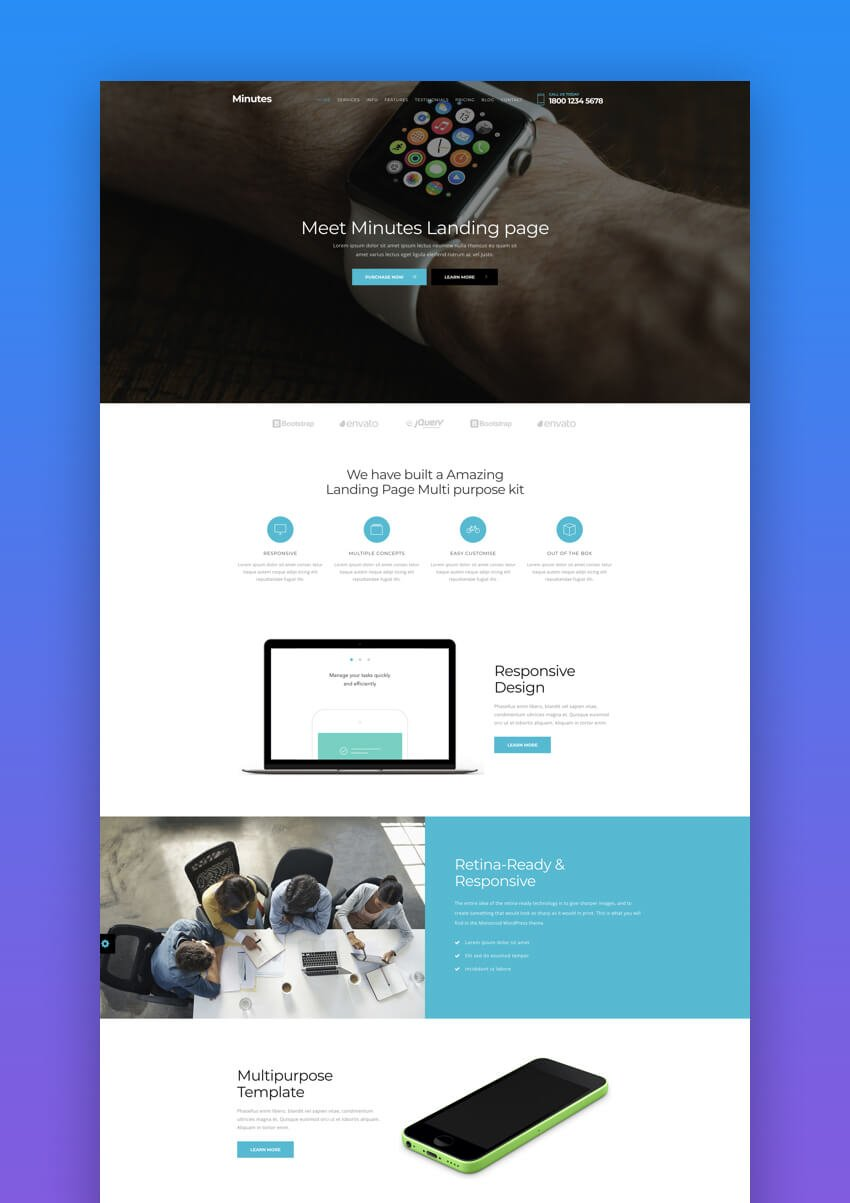 Minutes ebook landing page template