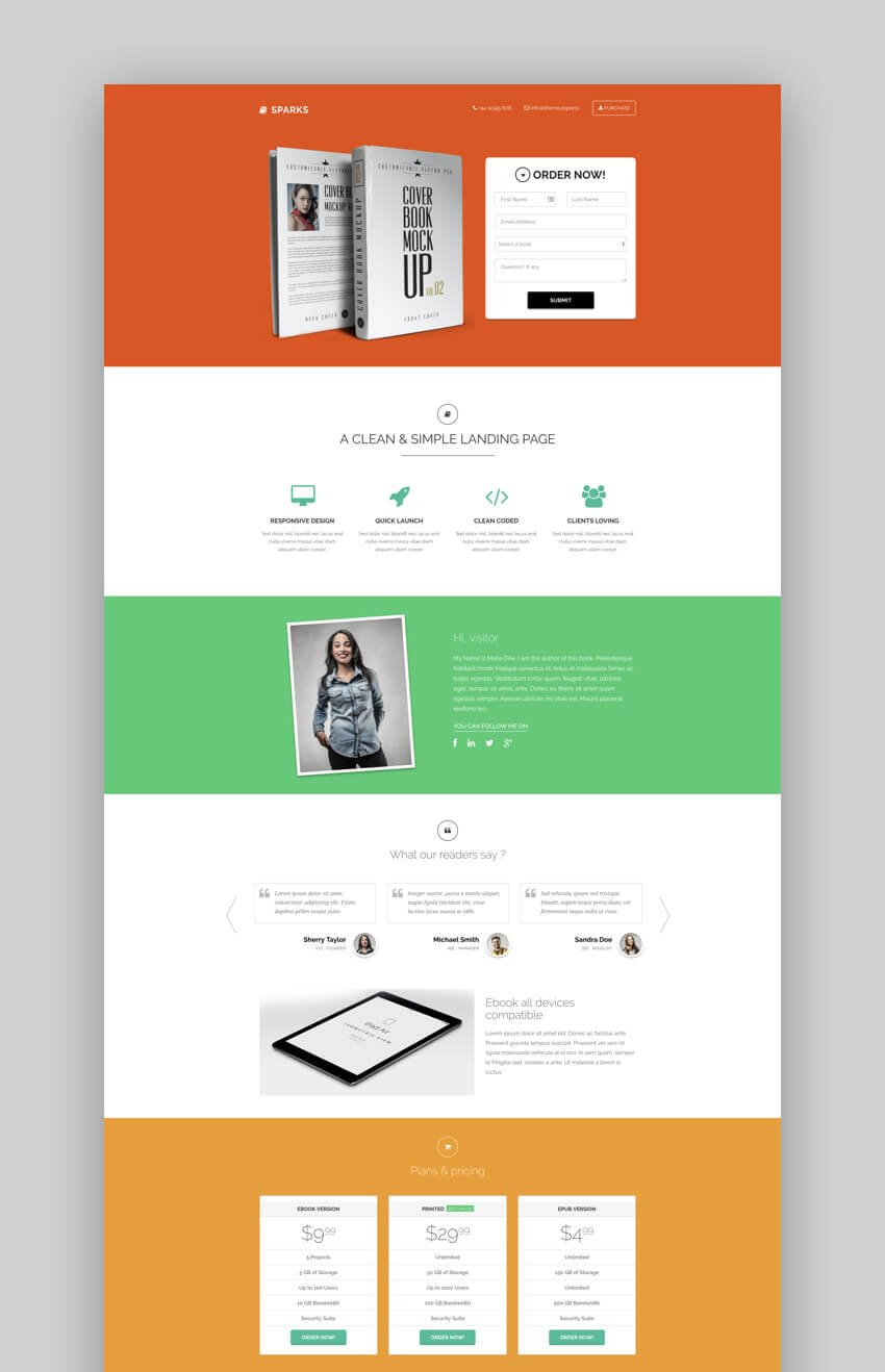 Sparks ebook and book landing page template