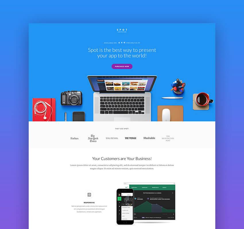 Spot landing page HTML template