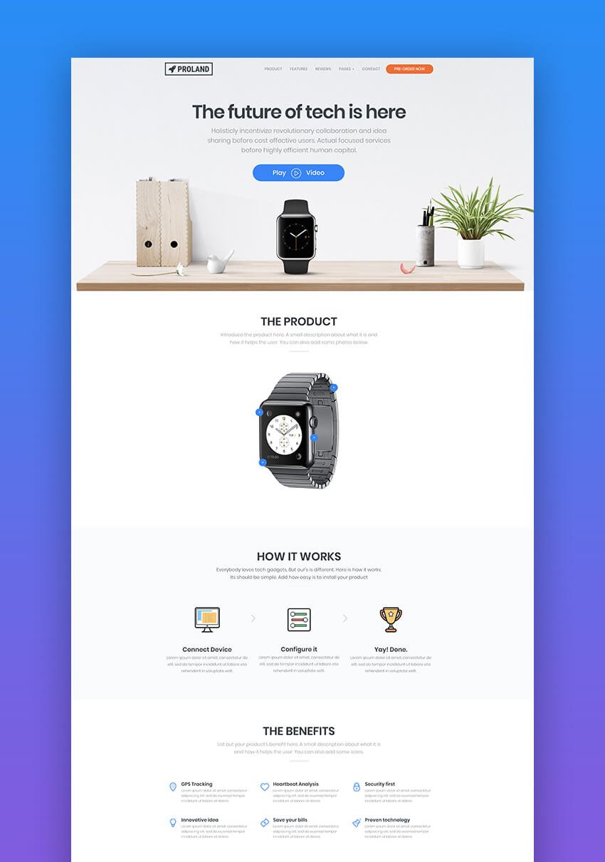 Proland minimal product landing page template