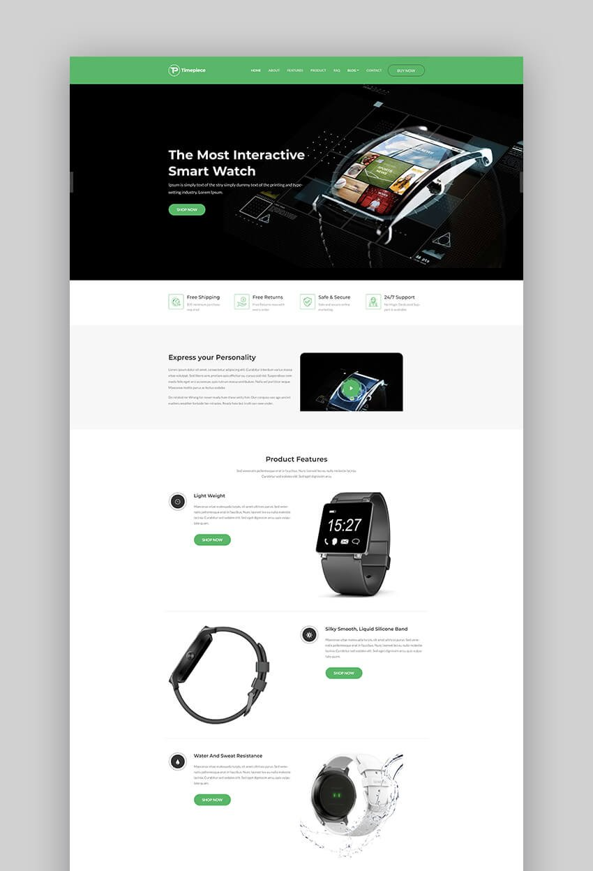 Timepiece product launch landing page template