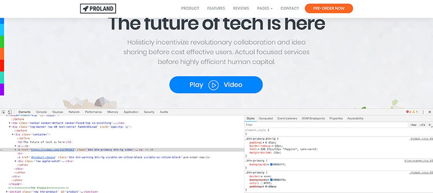 Inspecting a button in CSS