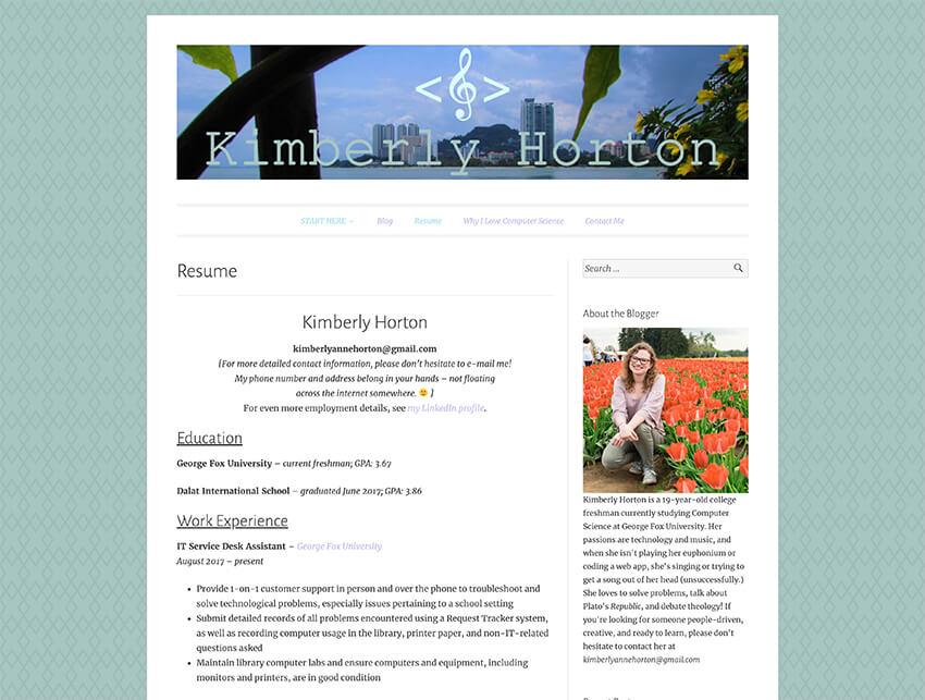 Kimberly Hortons website