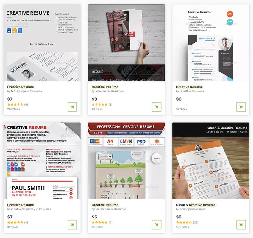 Visual Resume Templates from GraphicRiver