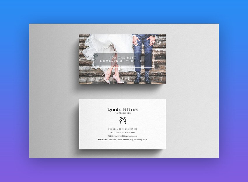 Company Tagline on Back of Business Card - Wedding Photography Business Card Template on Envato Elements