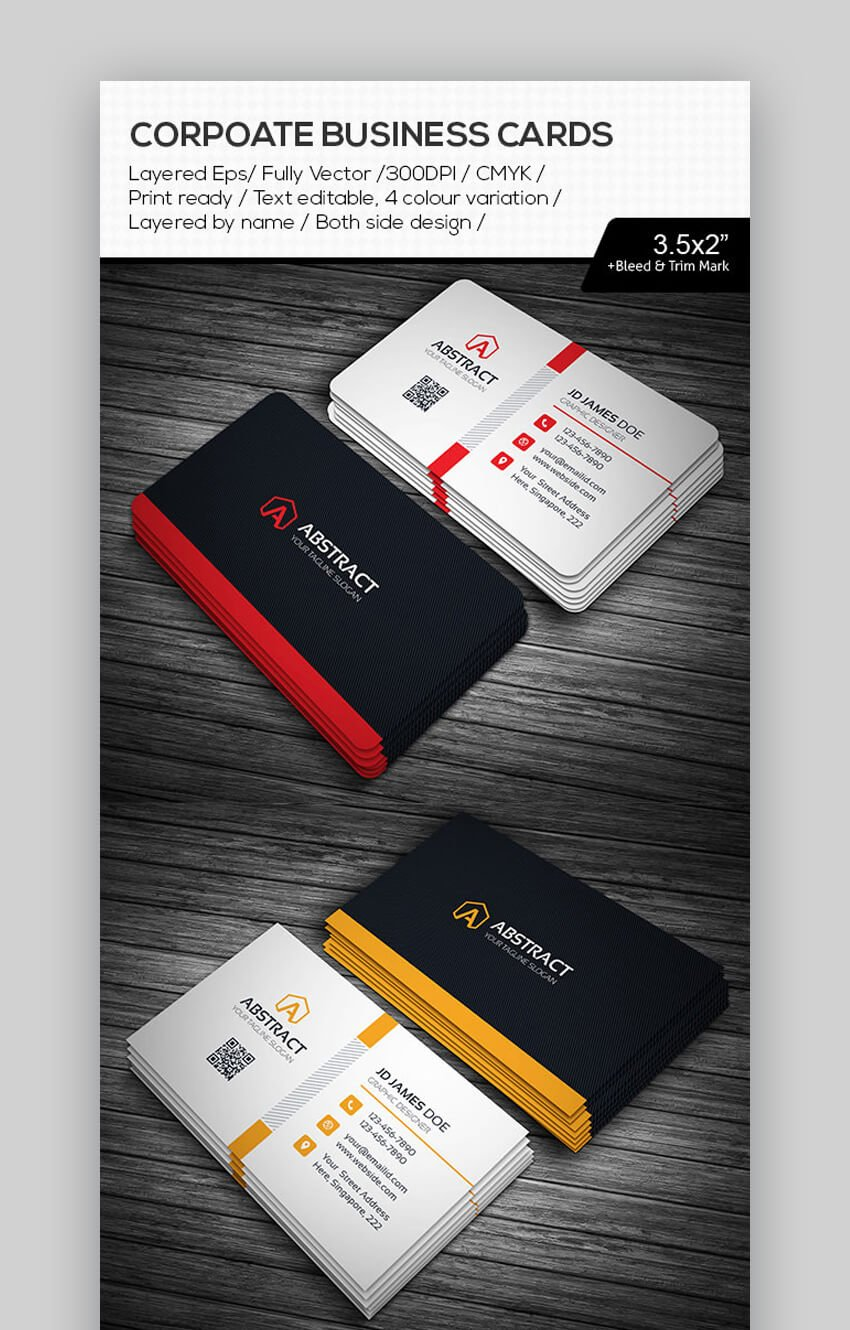 Abstract Corporate Business Cards - Illustrator Ready