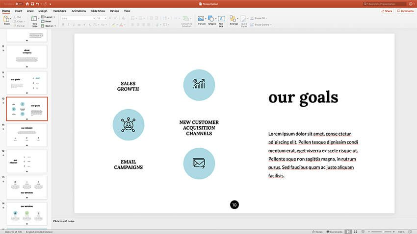 Using Icons presentation styles PPT