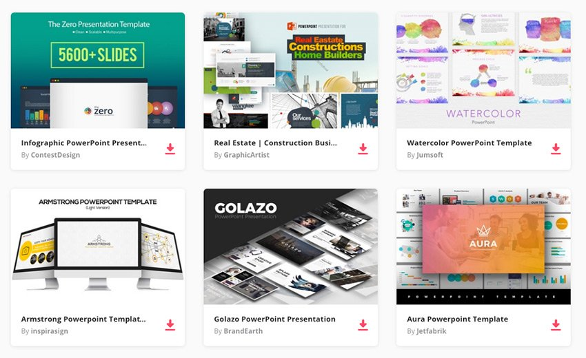 Examples of our best-selling PowerPoint templates on Envato Elements