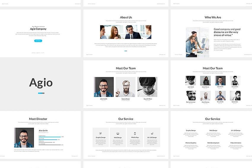 Agio PowerPoint Template - Bold headings indicate new sections