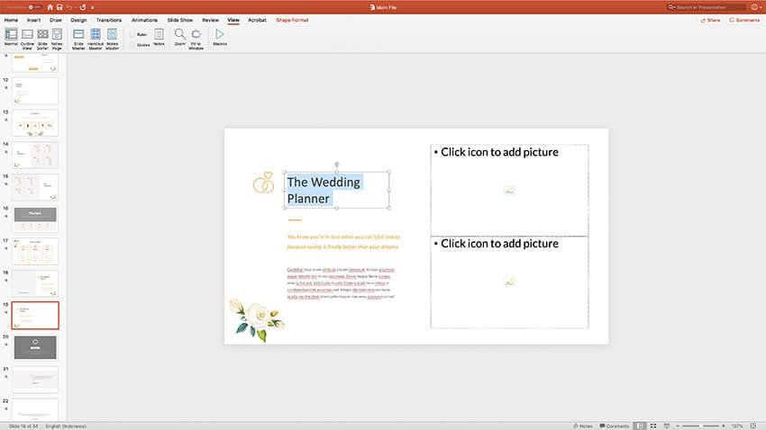 Changing text in the Luci PPT template