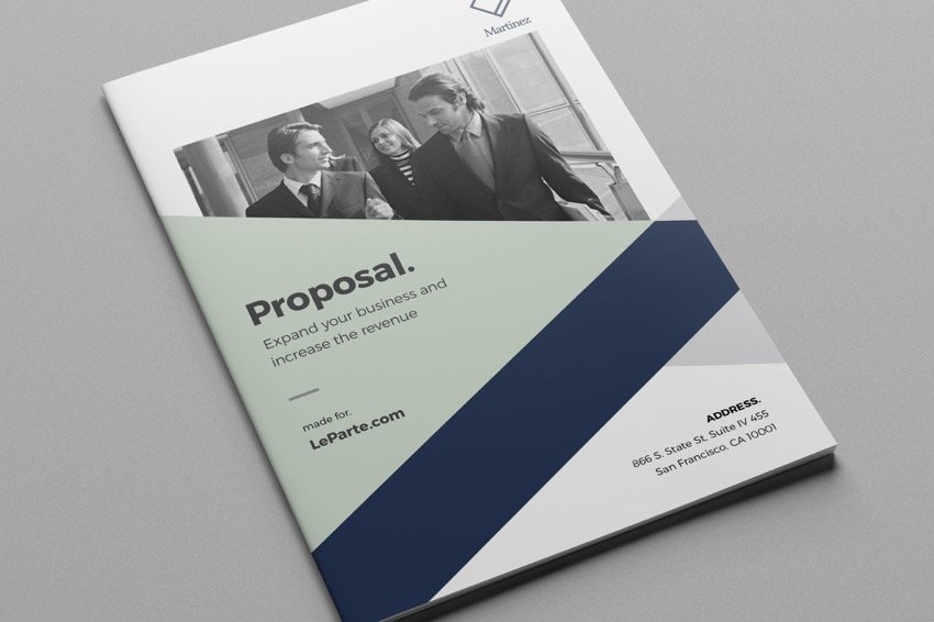 Business proposal with creative use of shape overlays