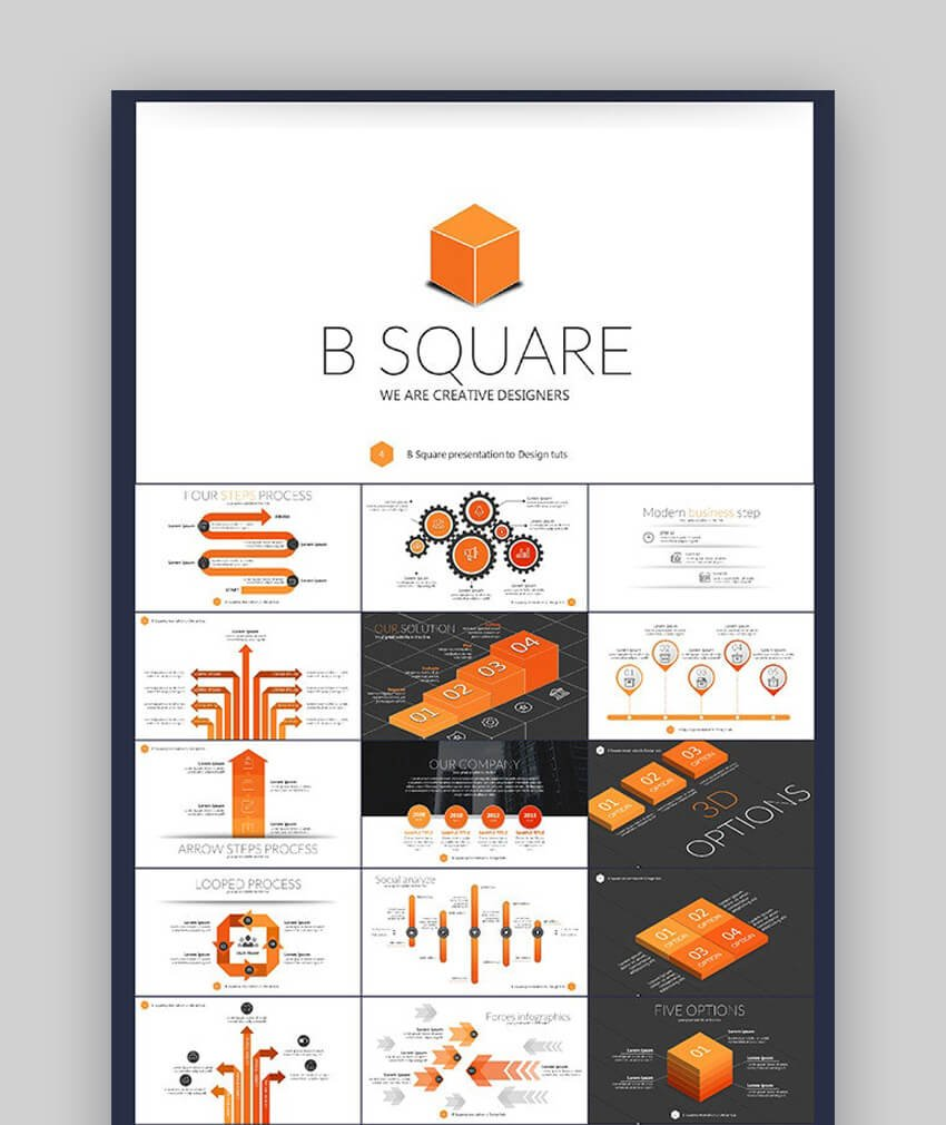 B Square Org Chart for PowerPoint