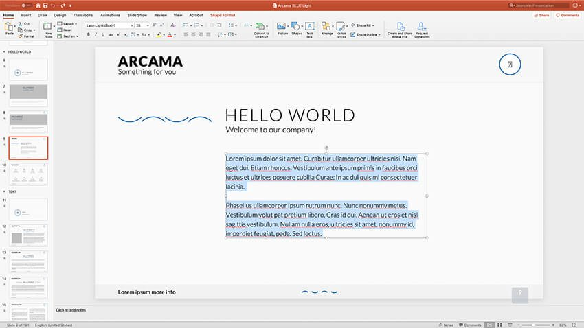 Editing text in Arcama flowchart template