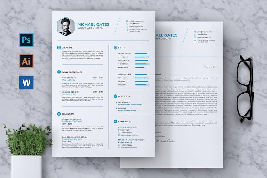 CV Resume Template With Minimalist Design