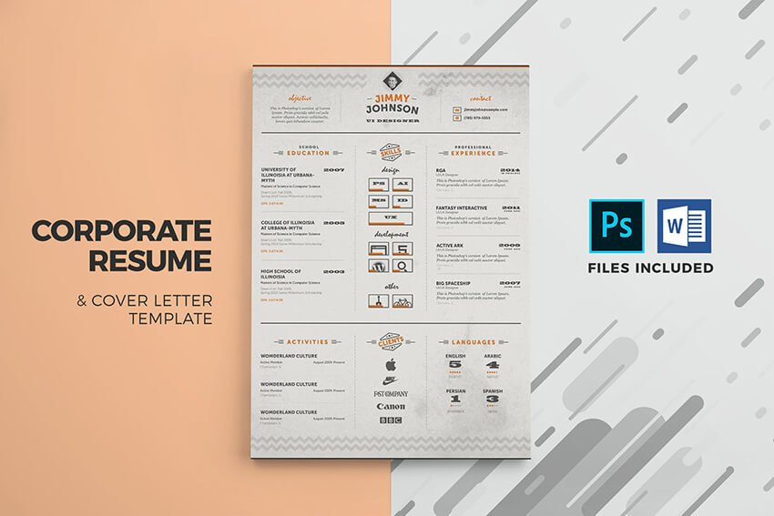 Corporate Resume Cover Letter Template