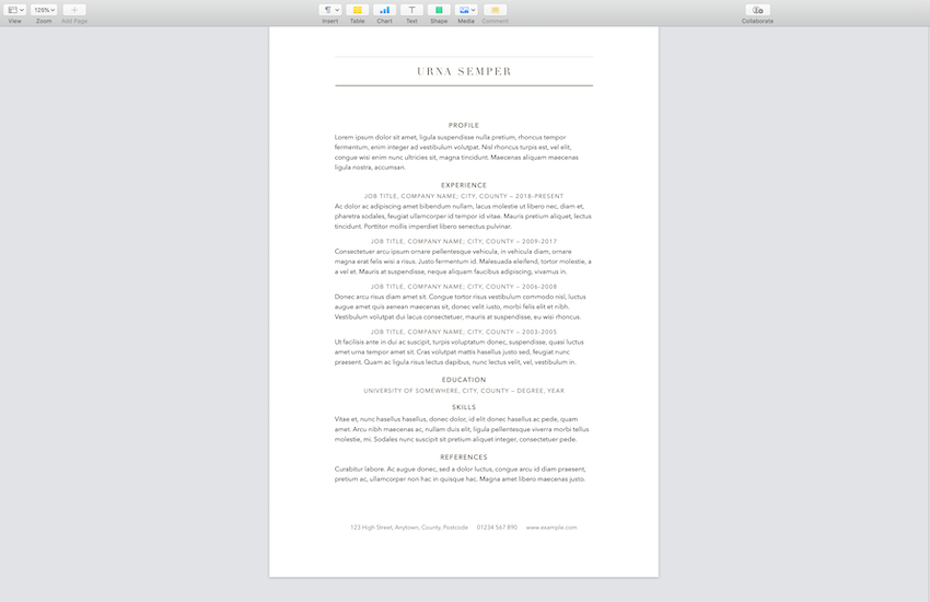 Elegant CV Free Resume For Pages