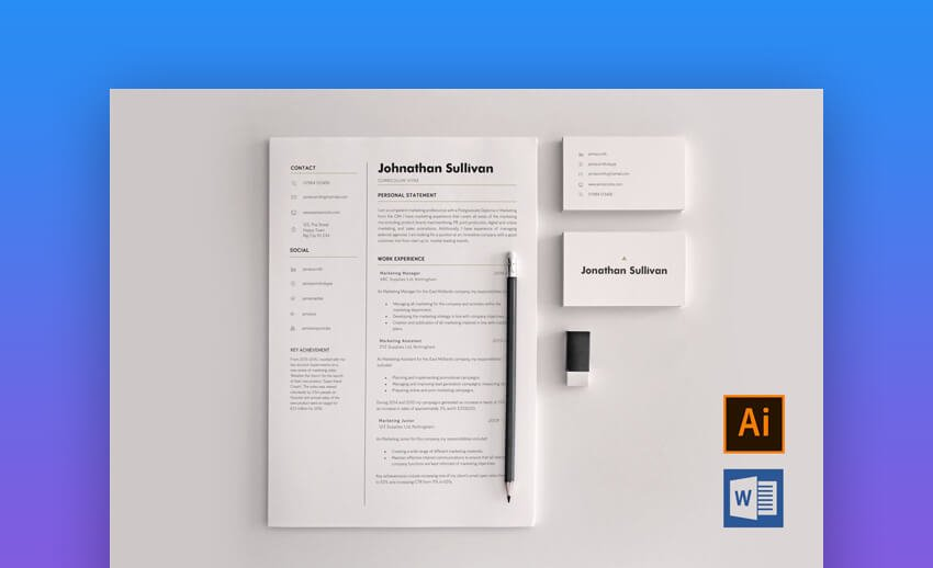 Minimal Resume and Business Card Template