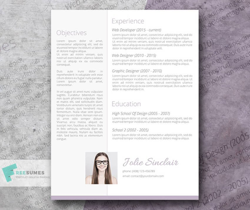 Soft and Sweet Resume Template Free Word Resume Template