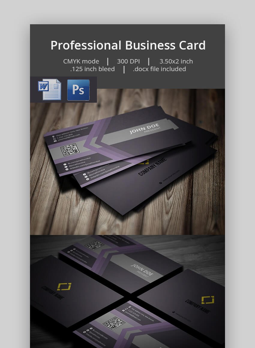 Professional Business Card - Business Card Template for MS Word