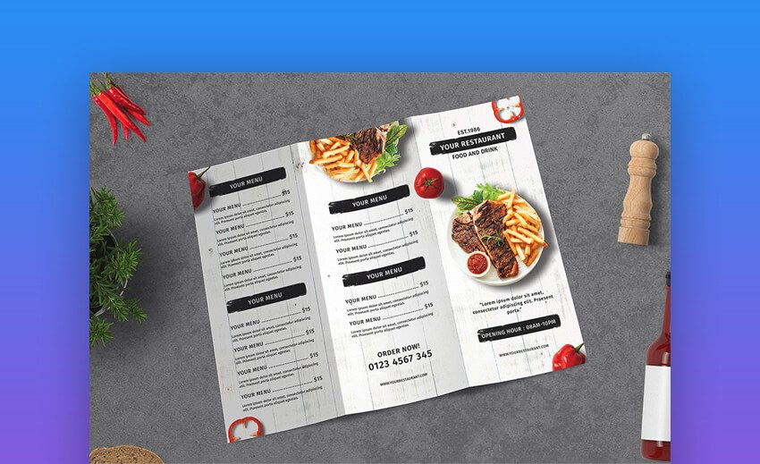 Restaurant Menu Trifold Brochure - Photoshop Brochure Template