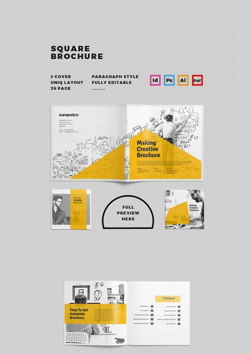 Square Brochure - Unique Brochure Template in PSD Format