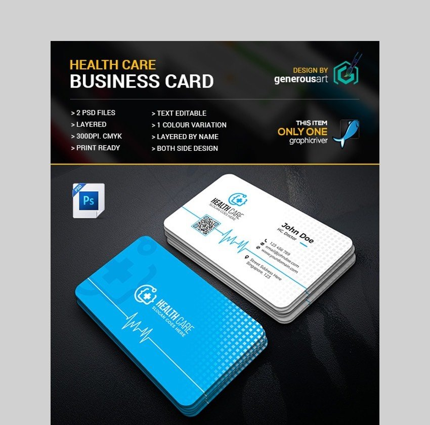 Health Care Business Card - Custom Design for a Business Card Template