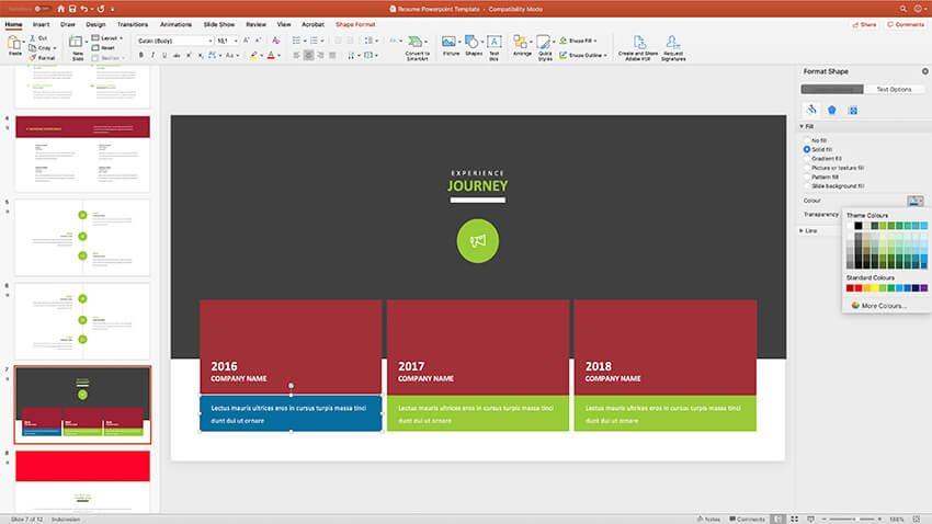 Customizing colors for a PowerPoint template