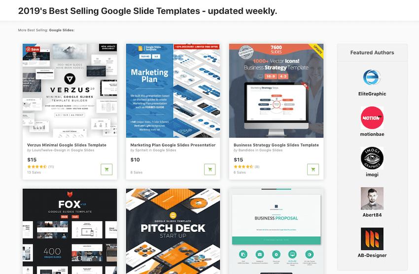 Google Slides templates on GraphicRiver