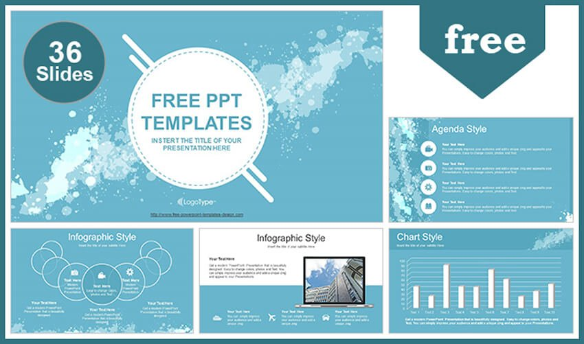 Water-Colored Splashes Template PowerPoint Gratis