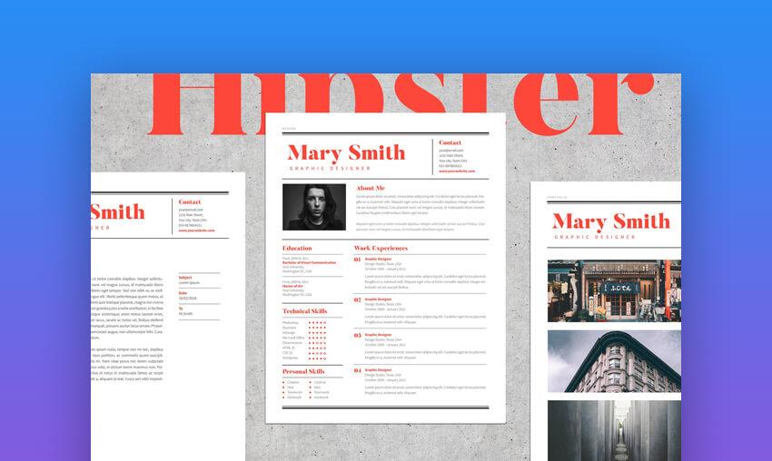 Hipster Resume - Modern Resume Photoshop Template