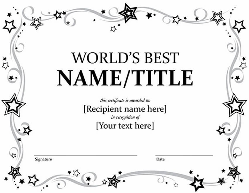 Free Word Award Certificate Template