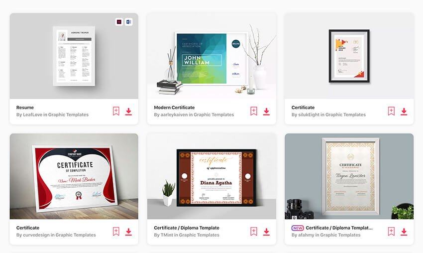 Certificate templates on Envato Elements
