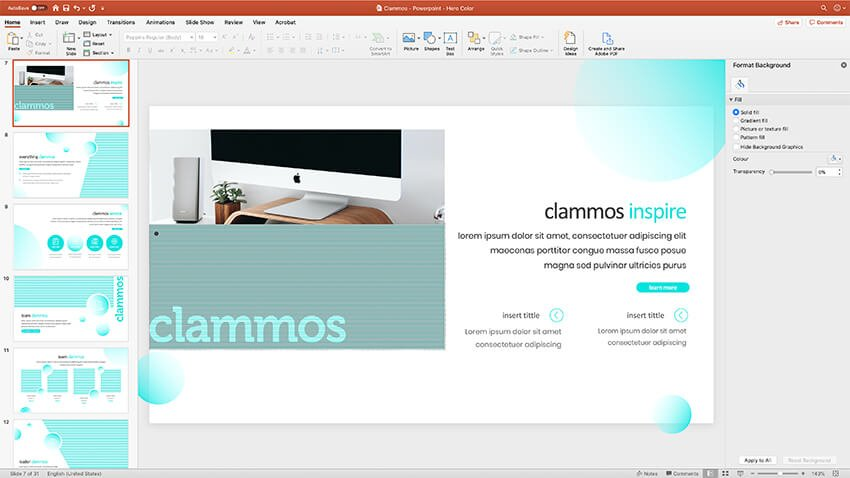 consistent slide design in the MILD PowerPoint template