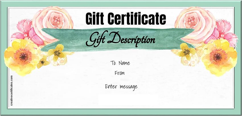 Free MS Word Gift Certificate Template