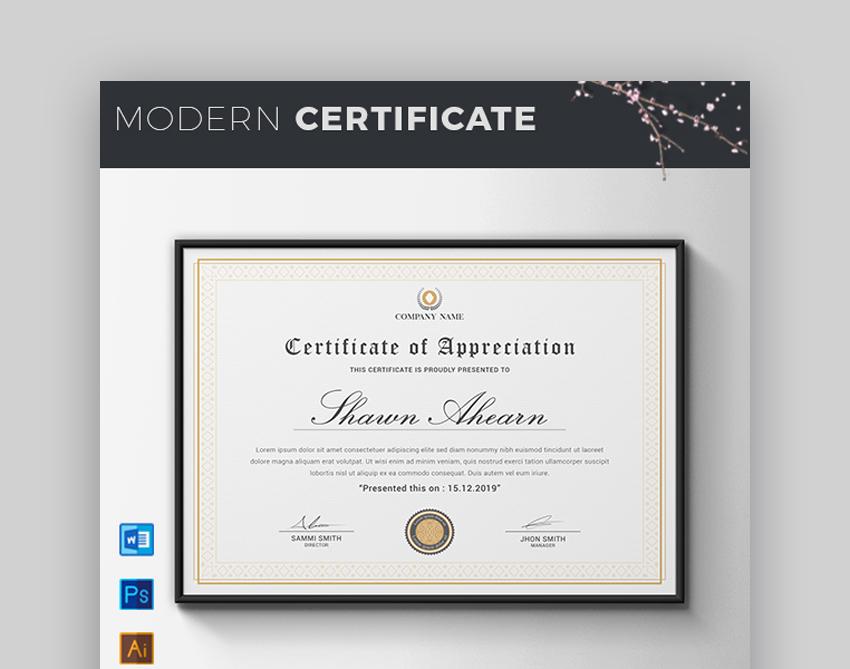 Certificate - Modern Certificate Template for Google Docs