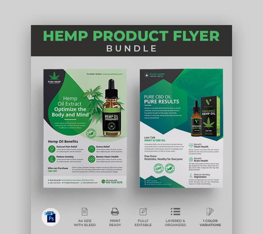 Minimalist Hemp Product Flyer Design