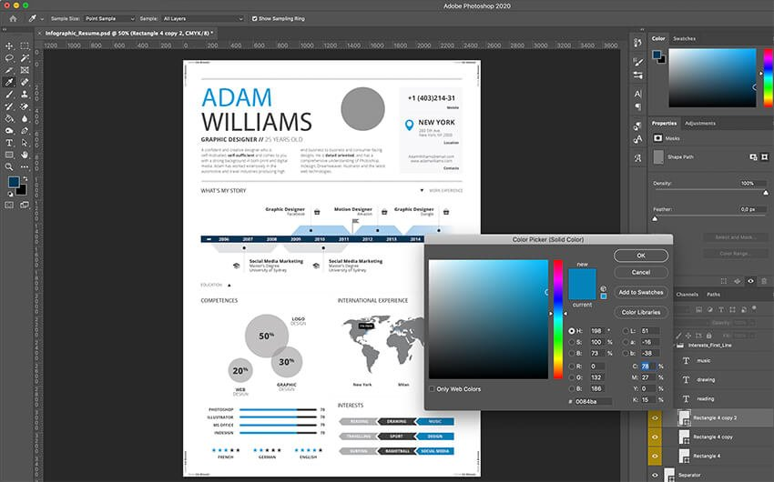 Customizing interests section in Photoshop