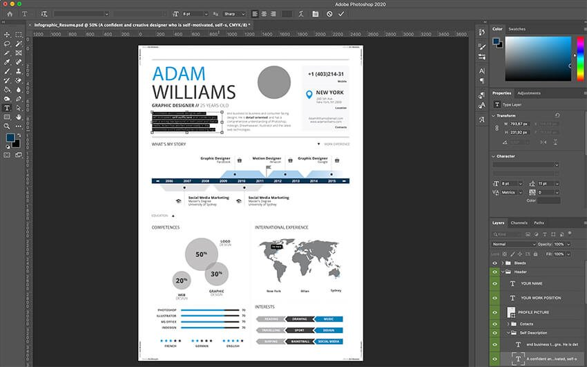 Editing the content of your resume in Photoshop