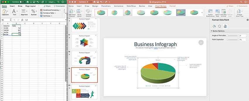 An embedded Excel window in PowerPoint allows you to log your data Change the data