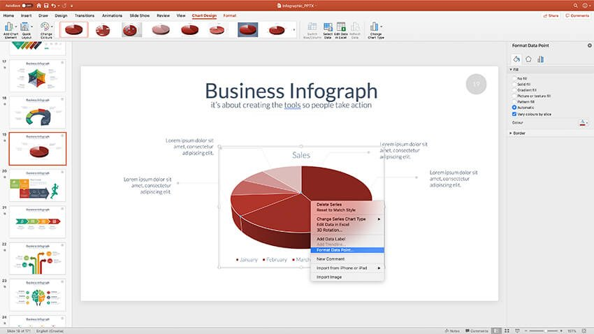 Format Chart Area in PowerPoint has numerous features to work with