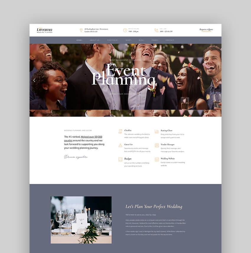 Dreama - Engagement Wedding Planner WordPress Theme