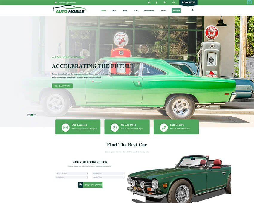 Advance Automobile - Free Taxi Booking Website Template