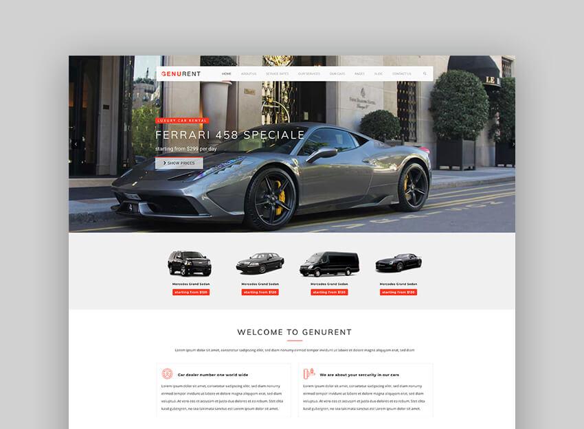 Genurent - Transport and Car Hire WordPress Theme