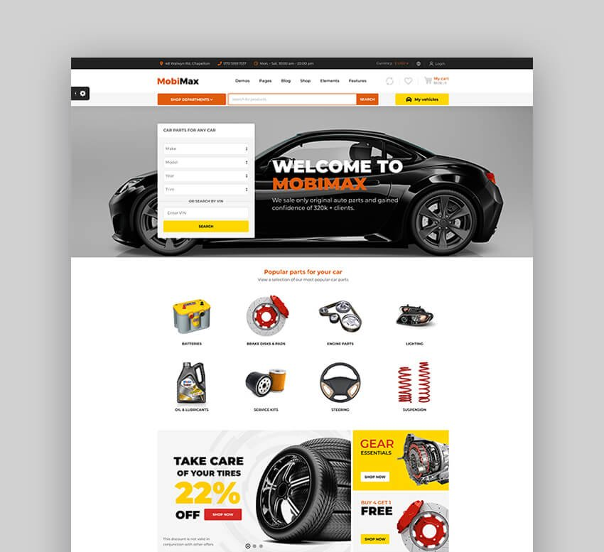 MobiMax - Best Auto Parts WordPress WooCommerce Theme